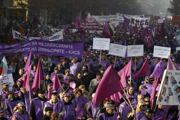 Workers march during a rally in central Sofia