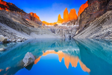 Torres Del Paine National Park, Chile. Sunrise at the Torres lookout.