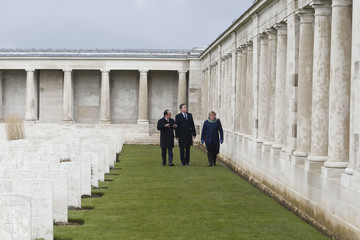 French President Francois Hollande and Britain's Prime Minister David Cameron visit the Pozieres British Memorial as part of a Franco-British summit in Pozieres