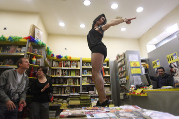 "Drag Queen Barbie Lopez performs at ""A different life"" bookstore during ""The Night of the Books"" festival in Madrid"