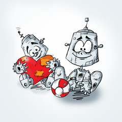 Cartoon robot with red heart.