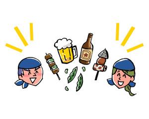 居酒屋店員とビールとつまみのイラスト