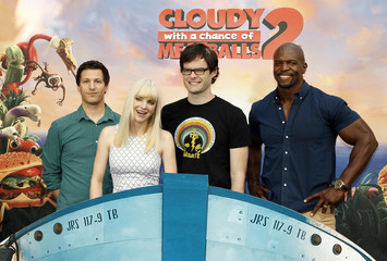 """The voice talents from the new Sony Pictures Animation film """"Cloudy with a Chance of Meatballs 2"""" Andy Samberg, Anna Faris, Bill Hader and Terry Crews pose during a photo call in Beverly Hills"""