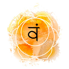 Svadhisthana chakra on orange watercolor background