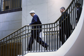 U.S. Secretary of State Kerry arrives to attend a House Select Intelligence Committee closed briefing on the situation in Syria, in Washington