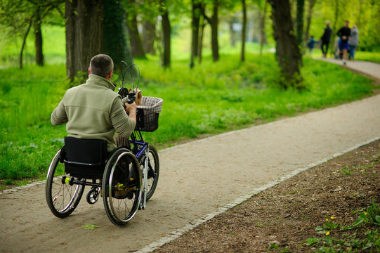 The man in a wheelchair on walk in the spring park.