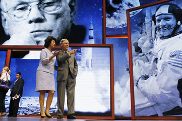 U.S. Senate Minority Leader Mitch McConnell (R-KY)  and his wife former U.S. Labor Secretary Elaine Chao tour the stage of the delayed Republican National Convention in Tampa