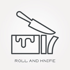Line icon roll and knife