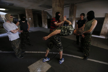 New recruits to the pro-Russian activist movement undergo basic training in Donetsk