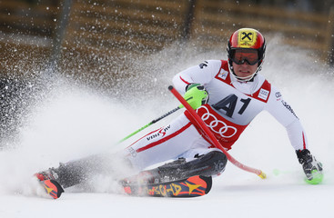Hirscher of Austria skis during the men's Slalom event of the Alpine Skiing World Cup downhill ski race in Kitzbuehel