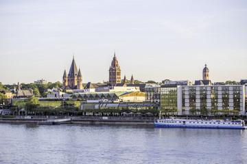 Rheinufer bei Mainz an einem Sommerabend
