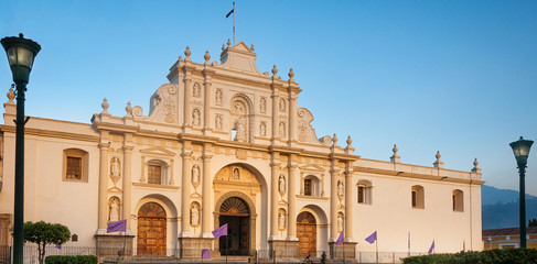 Saint James Cathedral, Central Square, Antigua, Guatemala, Spanish Baroque Guatemalan Architectural Style.