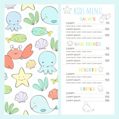 Children's menu in a marine style