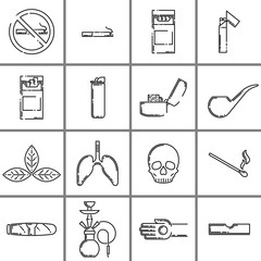 Set of anti tobacco outline icons isolated on white background. Flat vector illustration.