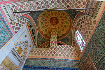 """Harem buildings in the """"Topkapi"""" palace, rich in precious decorations."""