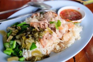 Closeup for stewed pork leg on rice