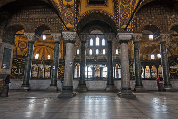 "Interior of ""Aya Sofya"" with its domes"