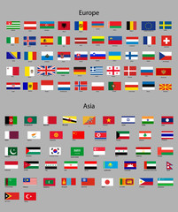 Flags of Asia and Europe.