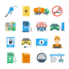 Petrol station icons in a flat style