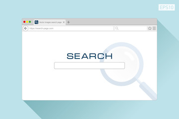 Search web page in flat style on color background, magnifying glass. Internet browser. Vector design object for you project
