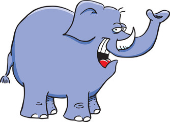 Cartoon illustration of a happy elephant.