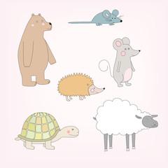 Set of happy cartoon animals