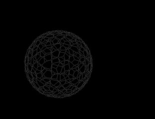 Abstract Sphere wireframe. Molecular lattice.  Sketch illustration.