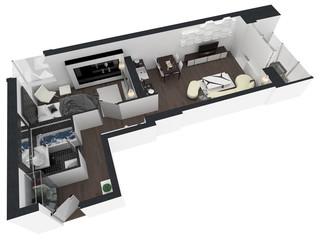 Apartment interior design - 3d floor plan