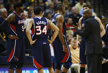 Atlanta Hawks head coach Drew talks to players at timeout during NBA first round playoff basketball game against Indiana Pacers in Indianapolis