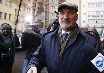 Macierewicz of Law and Justice (PiS) party arrives to the headquarters in Warsaw
