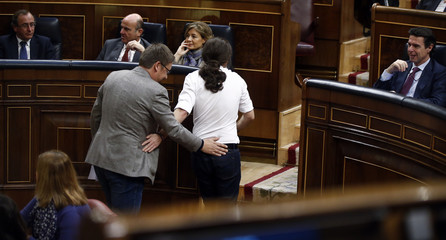 Podemos party leader Pablo Iglesias and Podem en Comu leader Xavier Domenech return to their seats during an investiture debate at parliament in Madrid