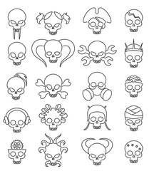 Cartoon cute skull linear icon set. Vector line skulls signs, death face with bones