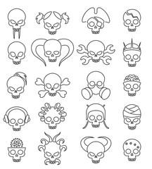 Cartoon cute skull linear icon set. Vector line skulls signs, death face with bones