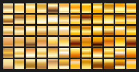 Digital design golden gradient icons. Vector gold shiny plate object textures set isolated on black background