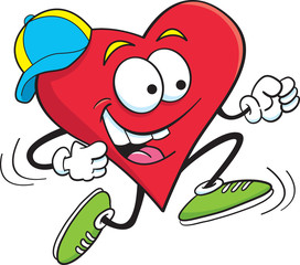 Cartoon illustration of a heart running.