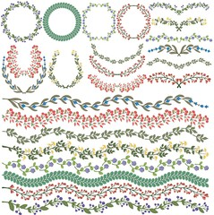 Set of vector colorful floral decorations. All brushes included.