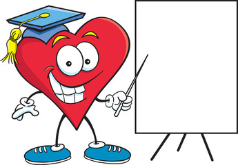 Cartoon illustration of a heart pointing to a sign.