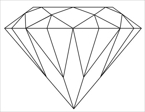 Simple black and white diamond outline icon or symbol vector eps 10
