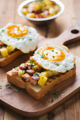 stir fried ham and tomato with fried egg sandwich