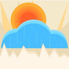 Sun with cloud vector illustration