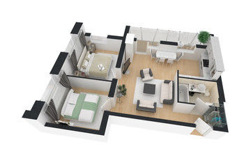 3d render of furnished home apartment