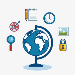 A globe surrounded by magnifying glass, target, notepad,pencil, wall clock, picture and padlock, over white background. Vector illustration.