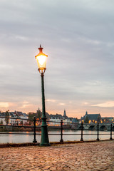 Evening view of the east side of the Dutch river Maas in Maastricht