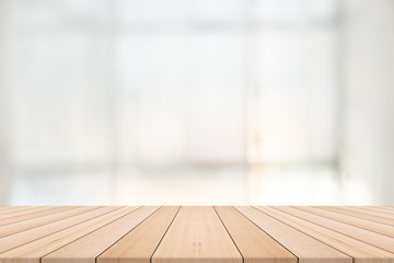 Empty wooden table with blurred background,Free space for product editing