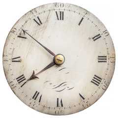 Sepia toned image of an old clock face isolated on white