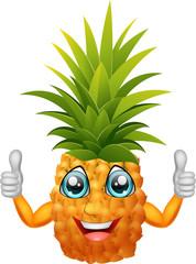 Cartoon Pineapple giving thumbs up. Vector illustration