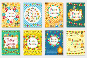 Festa Junina set greeting card, invitation, poster. Brazilian Latin American festival template for your design.Vector illustration