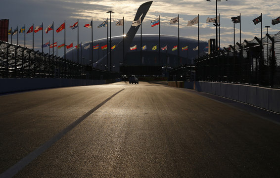 Sochi Autodrom F1 street circuit is seen with the Olympic Flame and the Bolsoy Ice Dome ice hockey area in the background, in Sochi