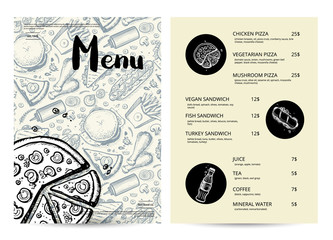 Restaurant fast food menu with prices. Vintage food design template, junk food card with linear sketches. Delicious meal vector illustration with hand drawn pizza, hot dog, chicken pencil doodles