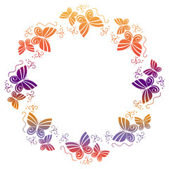Beautiful gradient frame with butterflies.
